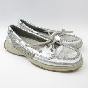 SPERRY TOP-SIDER LEATHER BOAT SHOE SILVER METALLIC